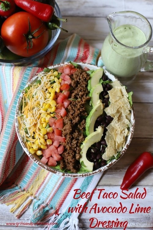This beef taco salad is both delicious and healthy! It's also quick and easy to make and features a yummy avocado cilantro-lime dressing that your family will love. #tacosalad, #tacosaladrecipe, #beeftacosalad, #avocadolimedressing, #easysaladdressing, #healthytacosalad