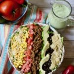 Easy Beef Taco Salad with Avocado Lime Dressing