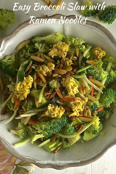 Easy Broccoli Slaw with Ramen Noodles is a delicious, crunchy, healthy slaw/salad made with raw broccoli, toasted sunflower seeds, almonds, and ramen noodles.