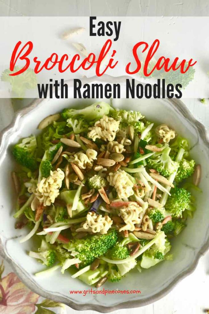 Easy Broccoli Slaw with Ramen Noodles is a delicious, crunchy, healthy slaw/salad made with raw broccoli, toasted sunflower seeds, almonds, and ramen noodles. This easy salad recipe is low carb and low in calories and the easy dressing is delicious. Try it today! #broccoli, #salad, #easyrecipes, #sidedish, #healthyrecipes, #vegetarian