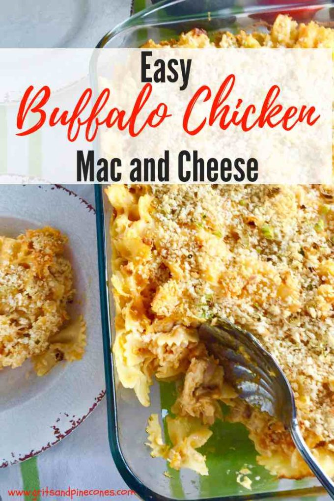 This quick and easy oven-baked, creamy Buffalo Chicken Mac and Cheese casserole recipe is deliciously spicy, simple to make, and the ultimate comfort food! It makes the perfect side dish and its a great dish for a game-day party. #party, #gameday, #dinner, #dinnerrecipes, #easydinner, #comfortfood, #sidedish, #sundaysupper, #casserole