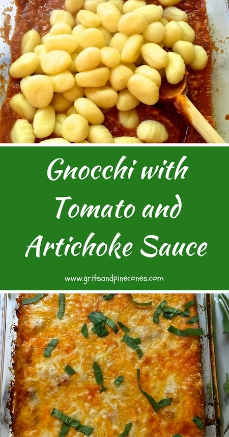 Delicious, quick and easy Gnocchi with Tomato and Artichoke Sauce is the ultimate family-friendly, comfort food, it's freezer friendly and you can make it ahead.  #gnocchirecipes, #casserolerecipes, #comfortfoodrecipes, #bakedgnocchi, #gnocchi, #vegetarianmeals, #vegetarianrecipes