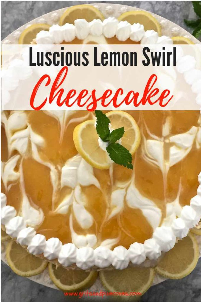 This homemade Luscious Lemon Swirl Cheesecake recipe is easy, it's elegant, it's out of this world delicious, and it's the perfect dessert for a holiday party or dinner party! #dessert, #dessertrecipes, #party, #dinnerparty