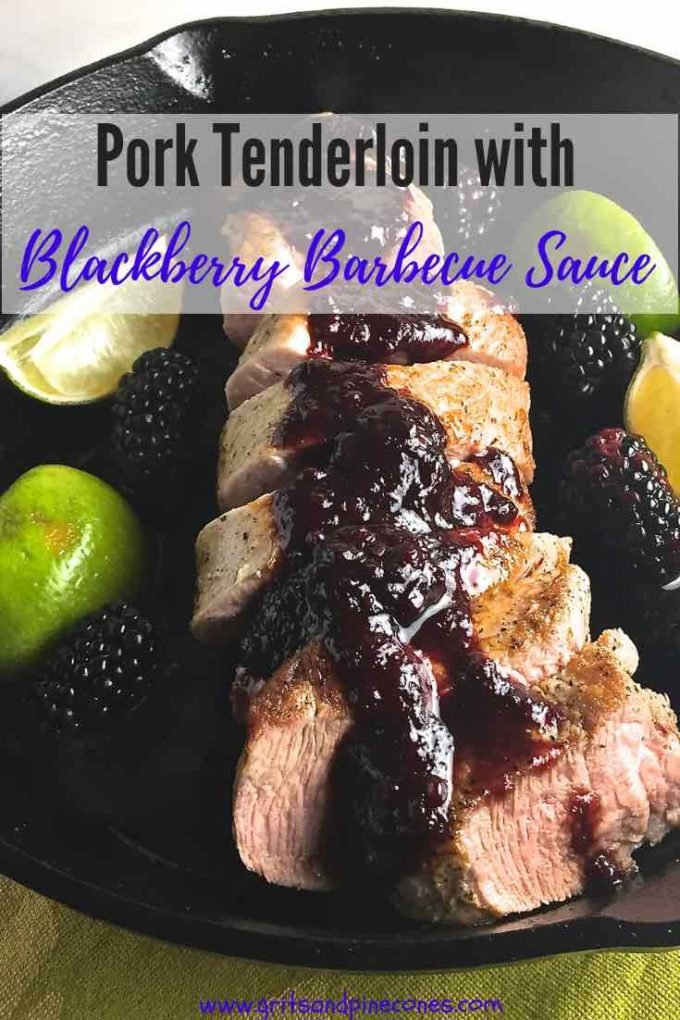 Cast Iron Pork Tenderloin with Blackberry Bourbon Barbecue Sauce is seared on the stove, then quickly oven roasted. It's easy, healthy, delicious and, you can have it on the table in 35 minutes.  #dinner, #pork, #dinnerrecipes, #easydinner, #porktenderloin