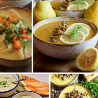 A collage of soup images including chicken and dumplings.