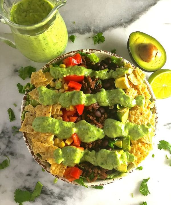 Taco Salad with Avocado Lime Dressing-3
