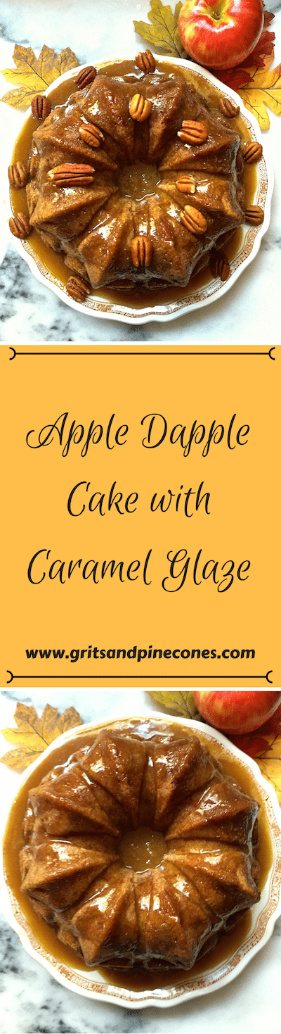 Apple Dapple Cake with Caramel Glaze is an amazingly simple, moist, and delicious homemade cake made from scratch, filled with fresh apples and covered with an easy sweet caramel glaze!