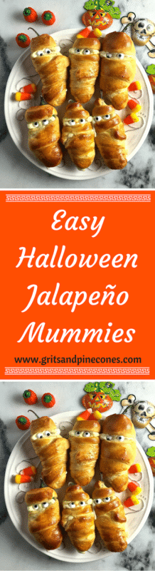 Easy Halloween Jalapeño Mummies is a spooktacular Halloween treat that is delicious, healthy, quick and easy to prepare, and one that your family will love! www.gritsandpinecones.com