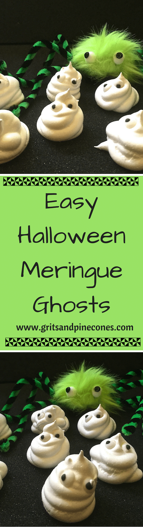 Scare up some smiles with this easy Halloween recipe for Halloween Meringue Ghosts! I'll show you there is no trick to making Halloween treats that your little monsters will love. #halloweenrecipes, #halloweenappetizers, #halloweenpartyfood, #halloweenpartyfoodideas, #halloweentreats, #halloweenfood, #easyhalloweentreats, #easyhalloweenfoodideas, #easyhalloweenrecipes,
