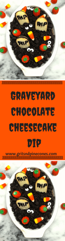 "Graveyard Chocolate Cheesecake Dip is so easy and quick; even your little ones can help. This fun spooky dip features cute cookie tombstones and Oreo ""dirt."" www.gritandpinecones.com"