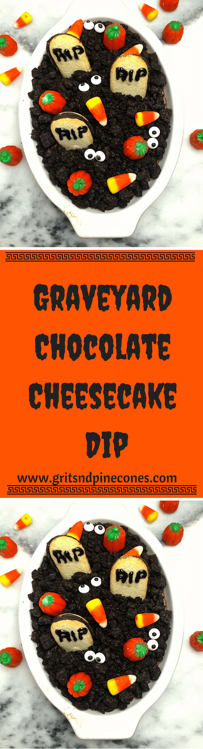 Halloween Graveyard Chocolate Cheesecake Dip is so easy and quick; even your little ones can help. This fun Halloween treat features cute cookie tombstones and Oreo dirt.  #halloweenrecipes, #halloweenappetizers, #halloweenpartyfood, #halloweenpartyfoodideas, #halloweentreats, #halloweenfood, #easyhalloweentreats, #easyhalloweenfoodideas, #easyhalloweenrecipes