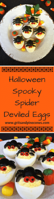 Spooky Spider Deviled Eggs are a fun, healthy, easy to make, after-school snack for the kids, or a spooky appetizer to serve for a Halloween party or dinner. www.gritsandpinecones.com