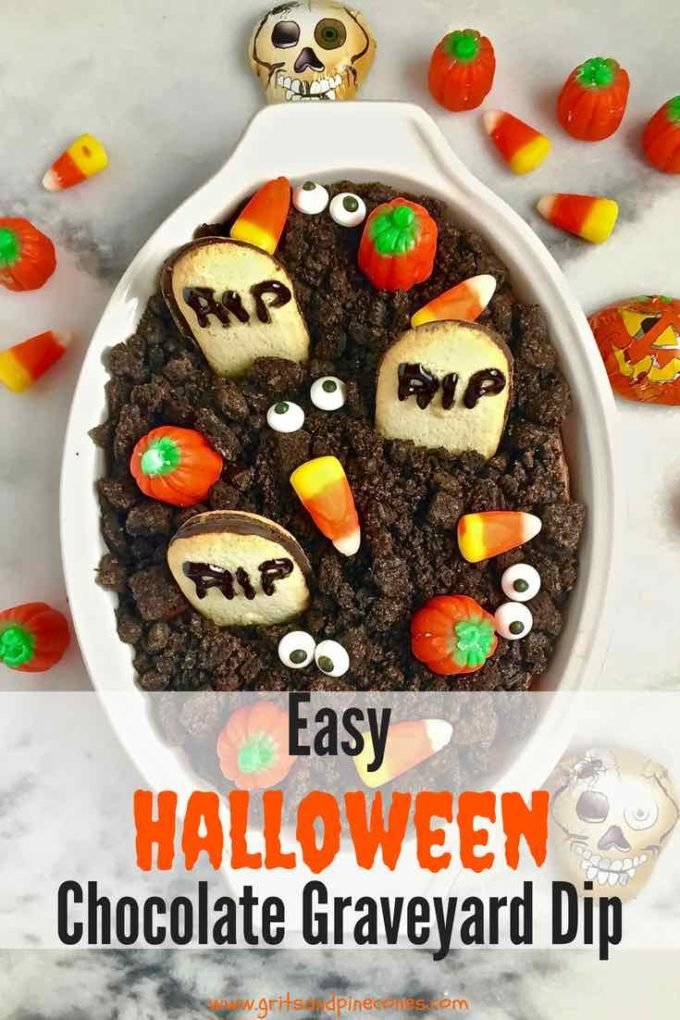 Halloween Graveyard Chocolate Cheesecake Dip is so easy and quick; even your little ones can help. This fun Halloween dessert or treat that both adults and kids will love, features cute cookie tombstones and Oreo dirt.  #halloweenrecipes, #halloweenappetizers, #halloweenpartyfood, #halloweenpartyfoodideas, #halloweentreats, #halloweenfood, #easyhalloweentreats, #easyhalloweenfoodideas, #easyhalloweenrecipes