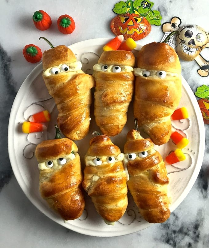 Easy Halloween Jalapeño Mummies all decked out and ready to eat!