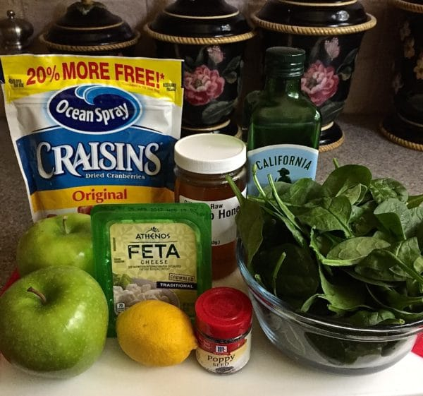 Spinach, Apple, and Cranberry Salad ingredients