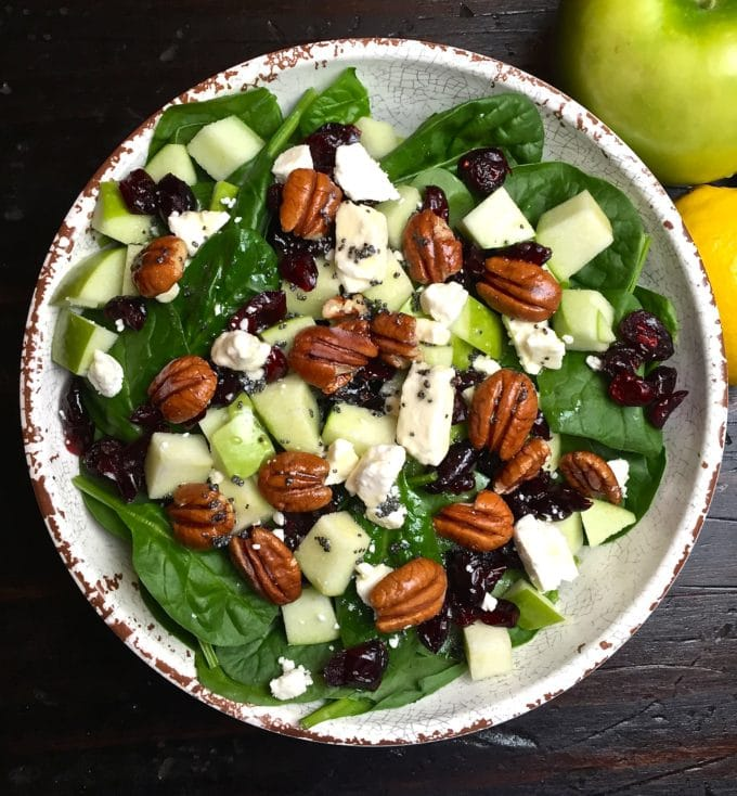 Spinach Feta Apple and Cranberry Salad