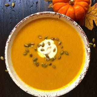 Healthy and savory Fall Feast Roasted Pumpkin Soup
