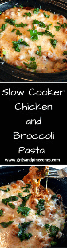 Slow Cooker Chicken and Broccoli Pasta is easy to prepare, and your slow cooker does all the heavy lifting. www.gritsandpinecones.com
