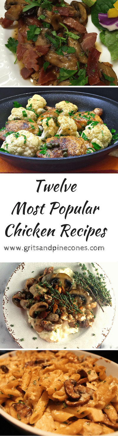 Check out my twelve most popular and delicious chicken recipes! These recipes have been viewed thousands of times & always get rave reviews!