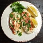 Easy Baked Parmesan Grouper Fillets on a plate garnished with parsley and lemon