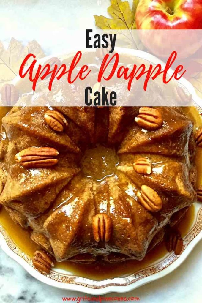 Apple Dapple Cake with Caramel Glaze is an amazingly simple, moist, and delicious homemade cake! In this easy recipe, Apple Dapple Cake is made from scratch in a bundt pan, filled with fresh apples and covered with an even easier sweet caramel glaze! #cake, #dessert, #dessertrecipes, #comfortfood, #easyrecipes, #apples, #caramel