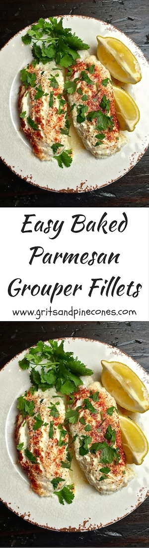 Easy Baked Parmesan Grouper Fillets is perfect for a hurried weeknight dinner with the family, but it's also a great entrée to serve company.