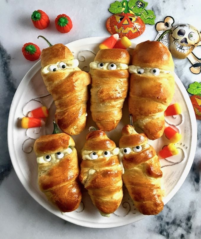 Easy Halloween Jalapeno Mummies all dressed up and ready for a party!