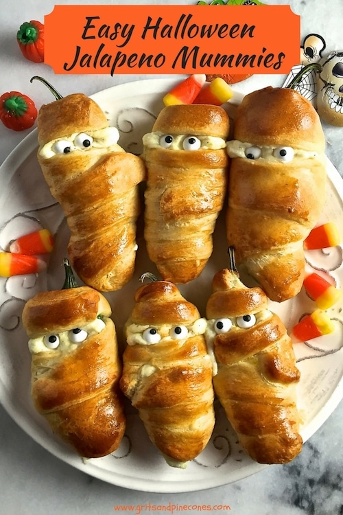 Easy Halloween Jalapeño Mummies are a slightly creepy, fun and healthy food treat that is perfect for a party or after-school snack, and this recipe is simple enough for your kids to make!