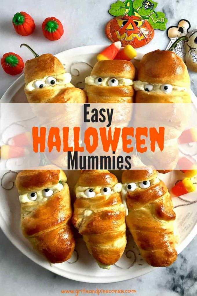 These super cute, yummy snacks are perfect to serve as an appetizer for a Halloween Party or even as a healthy after-school snack for your kids. And, who could resist these spooky tasty treats? Easy Halloween Jalapeño Mummies are a slightly creepy, fun and healthy food treat that is perfect for a party or after-school snack, and this recipe is simple enough for your kids to make!