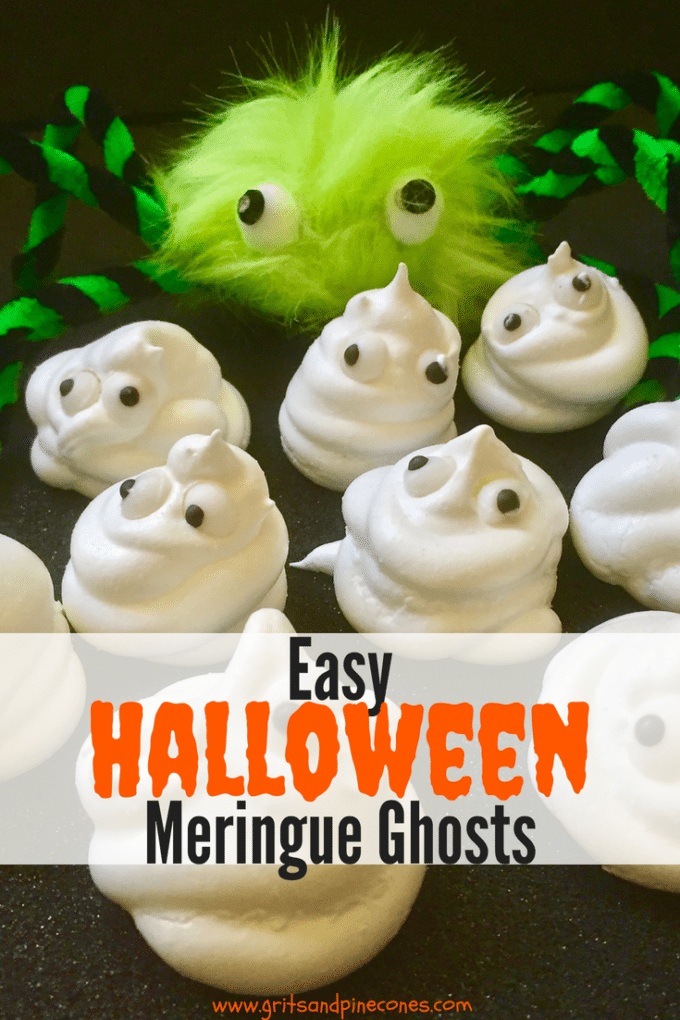 Scare up some smiles with this easy Halloween recipe for Halloween Meringue Ghosts! I'll show you there is no trick to making creepy and fun Halloween treats that both adults and kids will love. This is a great food idea for a party too! #halloween, #halloweenfood, #halloweenparty, #halloweenrecipes, #party