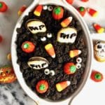 Halloween Graveyard Chocolate Cheesecake Dip ready for the party