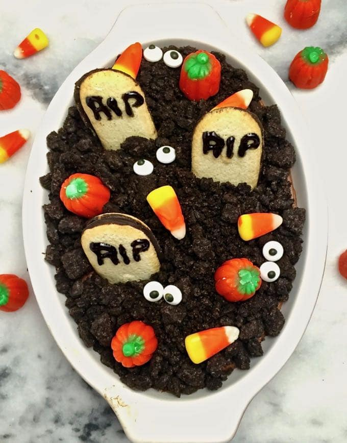 Halloween Graveyard Chocolate Cheesecake Dip a kid-friendly Halloween treat.