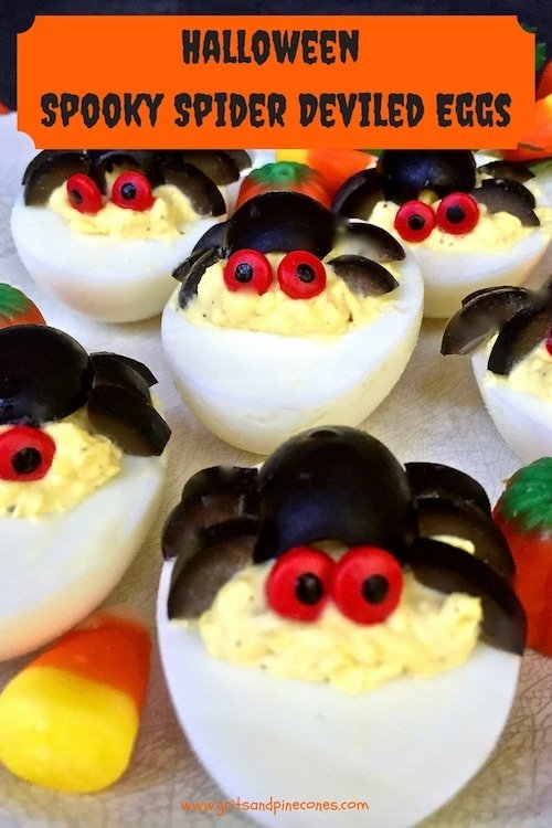 these halloween spooky spider deviled eggs look complicated but they are easy to - Deviled Eggs For Halloween Spider