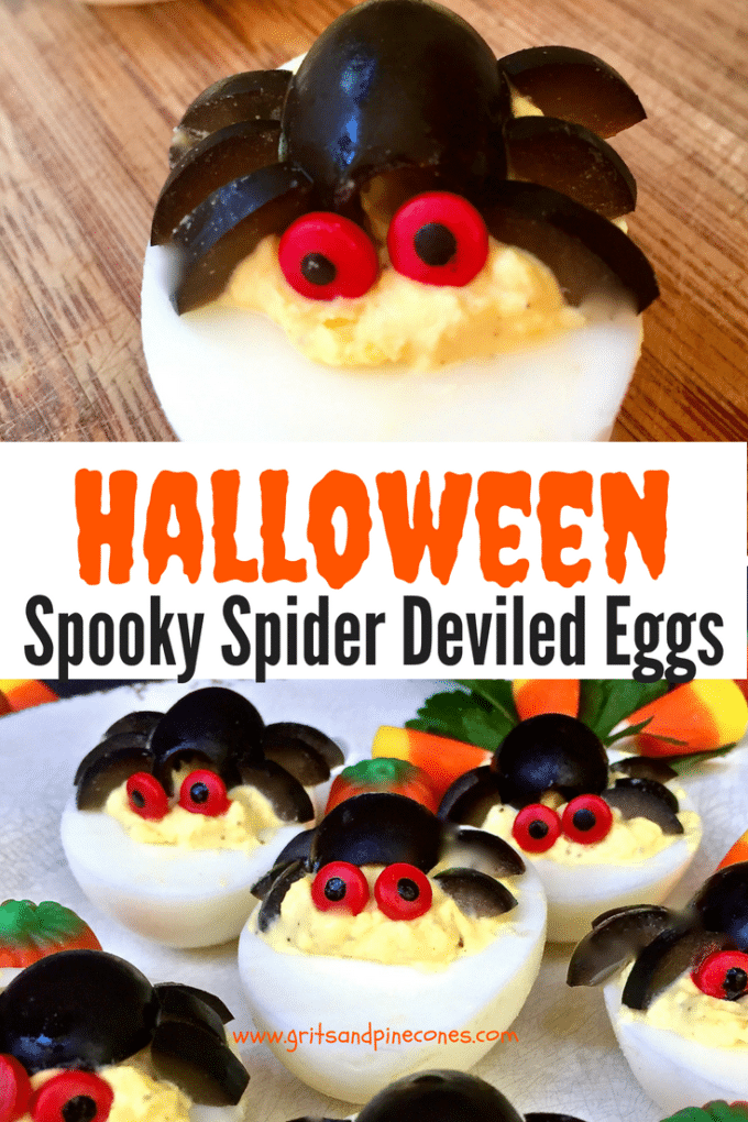 Beware, even though these Spider Deviled Eggs are spooky and look complicated, you won't believe how easy these Halloween treats are to make! Perfect for a party, even your little ones can help prepare this fun and healthy Halloween recipe. Both kids and adults will love them! #halloweenrecipes, #halloweenappetizers, #halloweenpartyfood, #halloweenpartyfoodideas, #halloweentreats, #halloweenfood, #easyhalloweentreats, #easyhalloweenfoodideas, #easyhalloweenrecipes, #halloweenparty, #halloween