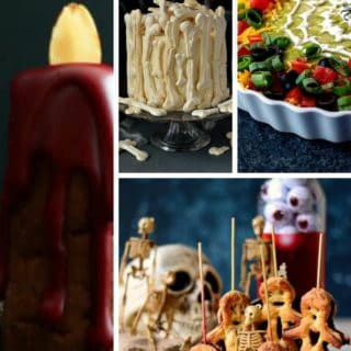 A collage of halloween treats including a bone cake, vegan pastry dolls and a spider layered dip.