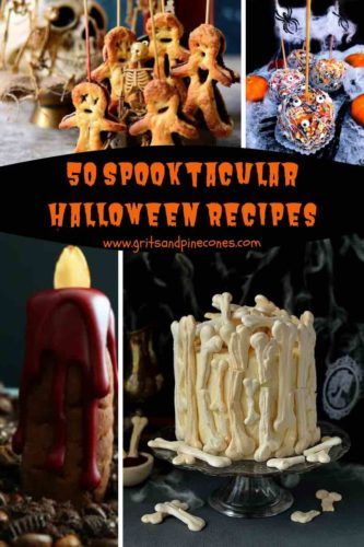A halloween collage Pinterest pin showing four images including a bone cake, bleeding candle and pastry voodoo dolls.
