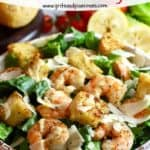 Pinterest pin for Shrimp Caesar Salad.