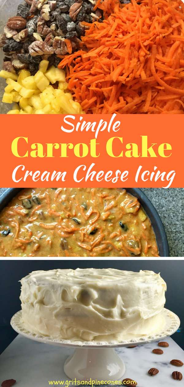 A classic Easter dessert, easy homemade moist Carrot Cake with pineapple and Cream Cheese Icing is chock full of healthy carrots, raisins, and pecans. The recipe also includes a simple, decadent, luscious, and velvety smooth Cream Cheese Icing. #carrotcake, #carrotcakerecipe, #carrotcakewithpineapple, #easycarrotcake