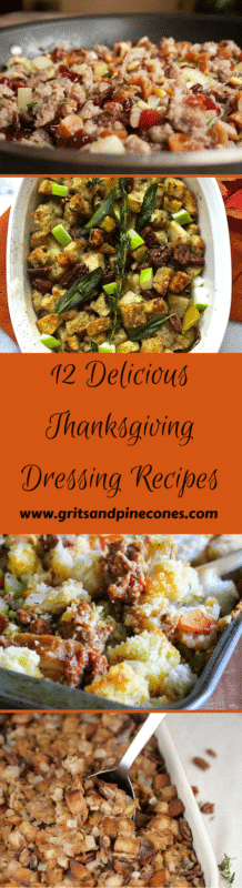 Whether you call it dressing or stuffing one of these twelve simple, yet delicious Thanksgiving side dishes deserves a place of honor next to the turkey on your Thanksgiving table! www.gritsandpinecones.com