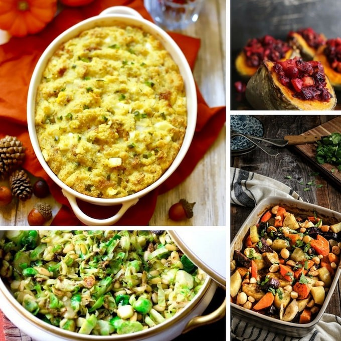 A college of four different Thanksgiving side dishes including stuffing.