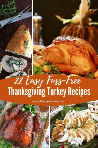 Pinterest pin of four photos of roast turkey for Thanksgiving.