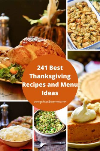 Pinterest pin of 5 Thanksgiving food photos including turkey and pumpkin pie.