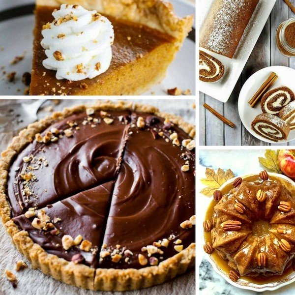 A collage of photos of thanksgiving desserts including chocolate and pumpkin pie.