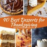 Pinterest Pin collage of 5 desserts including pie, cake and pumpkin bars.