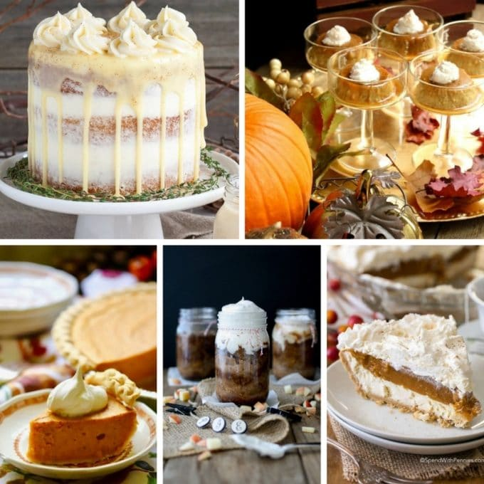 A collage of photos of five thanksgiving desserts including pumpkin pie.