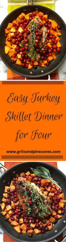 Easy Skillet Turkey Dinner for Four is the answer to your Thanksgiving Dinner prayers! An amazing, delicious, one-skillet turkey dinner that cooks in an hour and serves four people. www.gritsandpinecones.com
