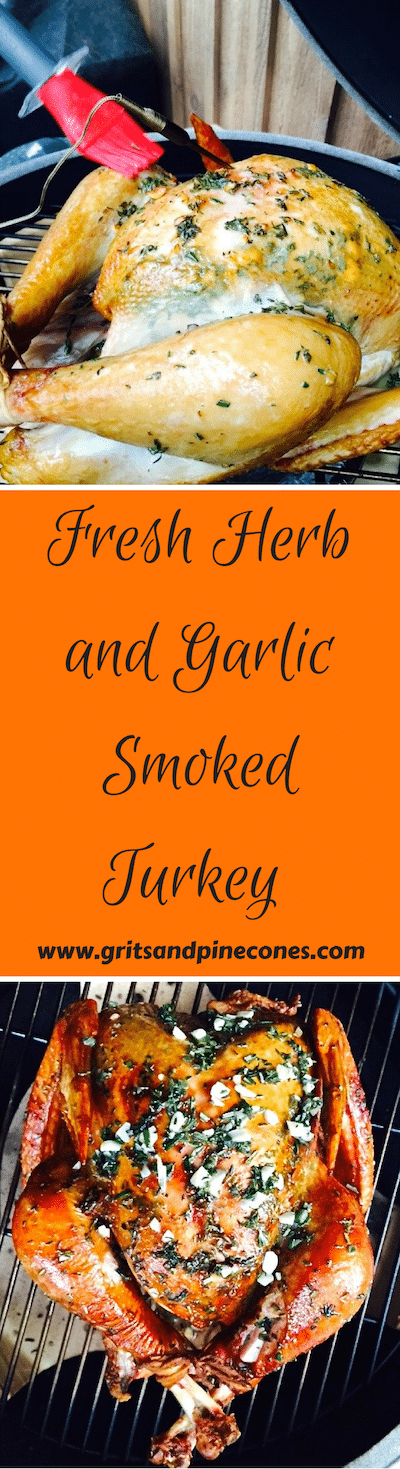 Try smoking your turkey this Thanksgiving! Fresh Herb and Garlic Smoked Turkey tastes and looks amazing! Smoking gives the turkey a deep golden brown color and the meat is moist and tender. #thanksgiving