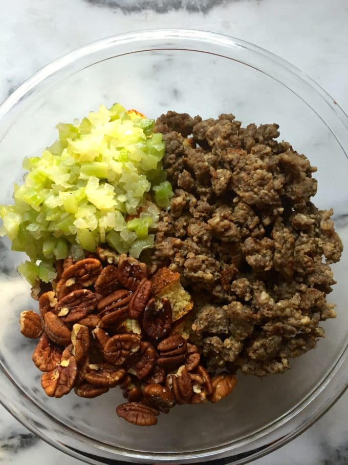 Combining ingredients for Southern Make Ahead Cornbread Dressing with Sausage