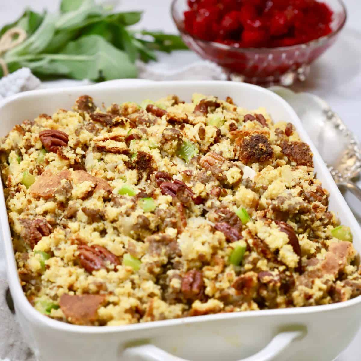 Ready for the big day, Southern Make Ahead Cornbread Dressing with Sausage