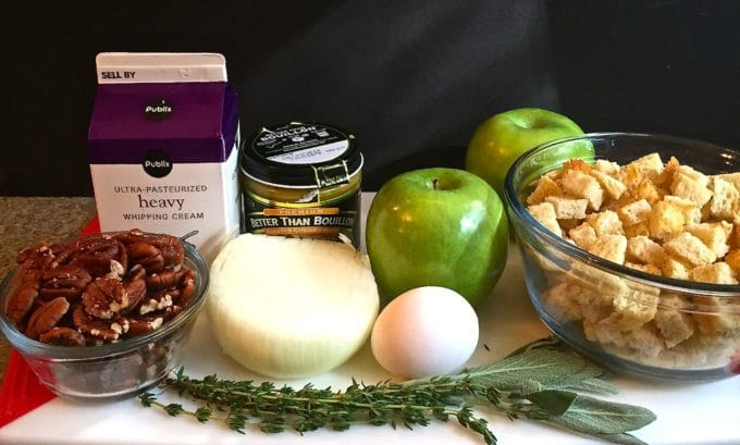 Sourdough Bread Apple and Pecan Dressing Ingredients